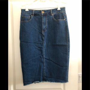 Forever21 stretch denim pencil skirt